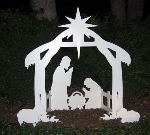 Outdoor silhouette yard nativity set